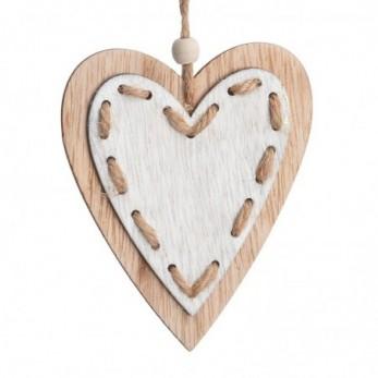 Ξύλινη κρεμαστή διπλή καρδιά