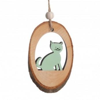 Ξύλινος κορμός με γάτα