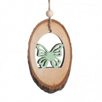 Ξύλινος κορμός με πεταλούδα