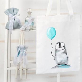 Τσάντα με σετ λαδιού βάπτισης Πιγκουίνος