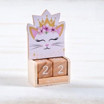 Μπομπονιέρα Βάπτισης Ξύλινο ημερολόγιο Γάτα
