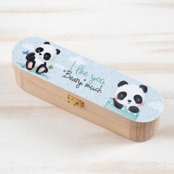 Μπομπονιέρα Βάπτισης Ξύλινη κασετίνα Panda