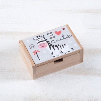 Μπομπονιέρα Βάπτισης Ξύλινο κουτί Ζέβρα