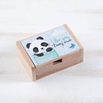 Μπομπονιέρα Βάπτισης Ξύλινο κουτί Panda