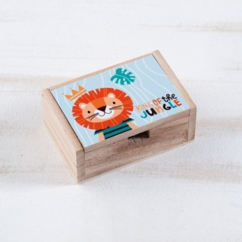 Μπομπονιέρα Βάπτισης Ξύλινο κουτί Λιοντάρι