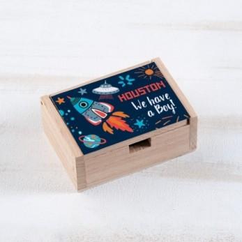 Μπομπονιέρα Βάπτισης Ξύλινο κουτί Διάστημα