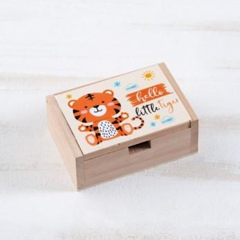 Μπομπονιέρα Βάπτισης Ξύλινο κουτί Τίγρης