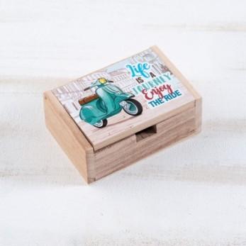 Μπομπονιέρα Βάπτισης Ξύλινο κουτί Βέσπα
