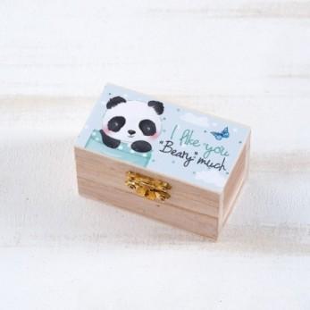 Μπομπονιέρα Βάπτισης Ξύλινο Σεντούκι Panda