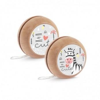 Μπομπονιέρα Βάπτισης Ξύλινο yo-yo Ζέβρα