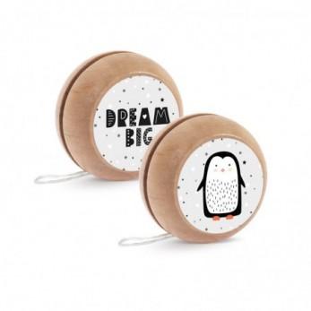 Μπομπονιέρα Βάπτισης Ξύλινο yo-yo Πιγκουίνος