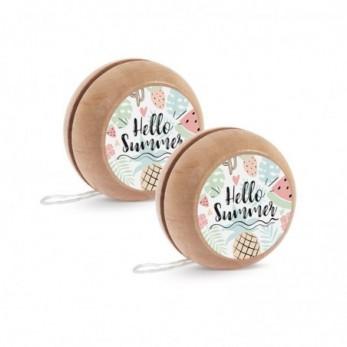 Μπομπονιέρα Βάπτισης Ξύλινο yo-yo Hello Summer