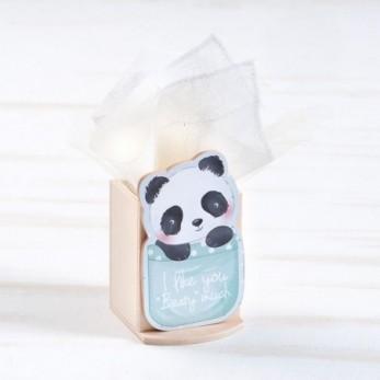 Μπομπονιέρα Βάπτισης Ξύλινη μολυβοθήκη Panda