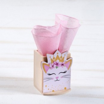 Μπομπονιέρα Βάπτισης Ξύλινη μολυβοθήκη Γάτα