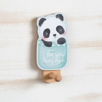 Μπομπονιέρα Βάπτισης Ξύλινη Κρεμάστρα τοίχου Panda