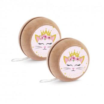 Μπομπονιέρα Βάπτισης Ξύλινο yo-yo Γάτα