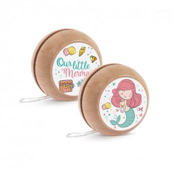 Μπομπονιέρα Βάπτισης Ξύλινο yo-yo Γοργόνα