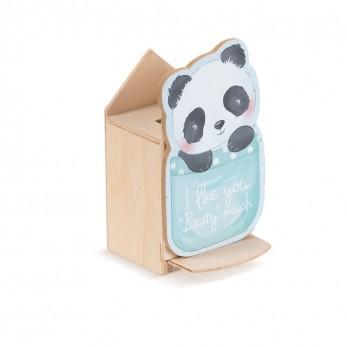 Μπομπονιέρα Βάπτισης Ξύλινος Κουμπαράς Panda