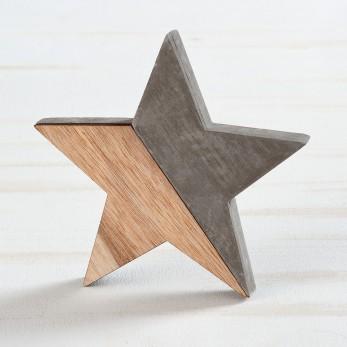 Διακοσμητικό αστέρι από τσιμέντο και ξύλο