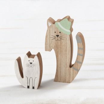 Ξύλινη διακοσμητική διπλή γάτα