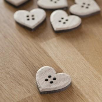 Ξύλινα Κουμπιά Καρδιά